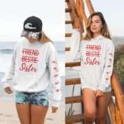 Friend Bestie Sister Hoodie, Sleeve Print, Matching Best Friend Hoodies