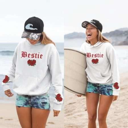 Bestie BFF Hoodie, Roses Sleeve Print, Matching BFF Hoodies