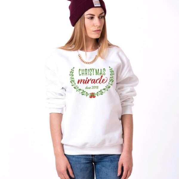 Christmas Maternity Sweatshirt, Christmas Miracle Due