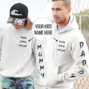 Mommy Daddy Custom Hoodies, Sleeve Print, Matching Family Hoodie