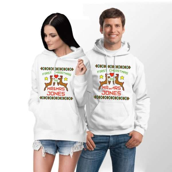 First Christmas Mr Mrs Hoodie, Matching Couples Hoodies
