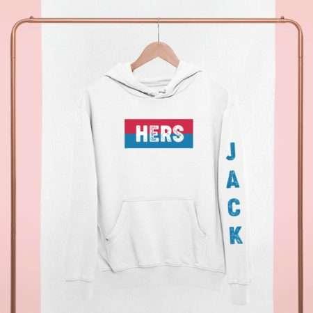 His Hers Couples Hoodies, Custom Names, Sleeve Print, Matching Hoodies