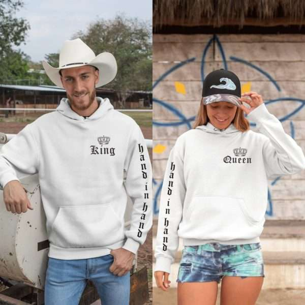 King Queen Hand in Hand, Sleeve Print, King Queen Couples Hoodies