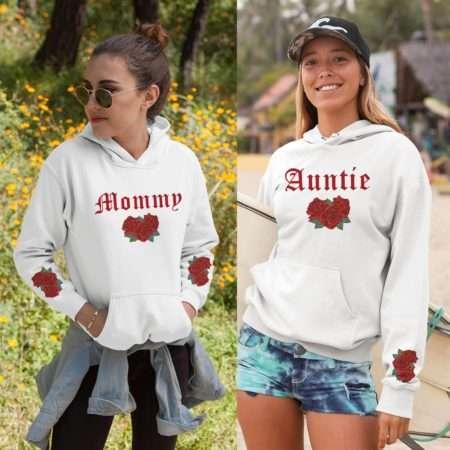 Auntie Hoodie, Mommy Hoodie, Roses Sleeve Print, Matching Family Hoodies