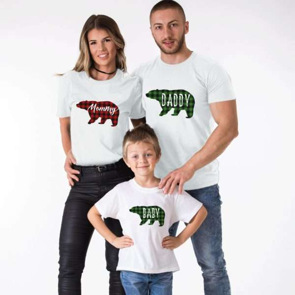 Christmas Plaid Bear Shirts, Mommy Daddy Baby, Matching Family Shirts