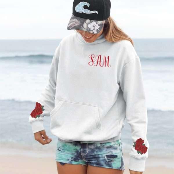 Monogrammed Hoodie, Roses Sleeve Print, Matching Best Friend Hoodies