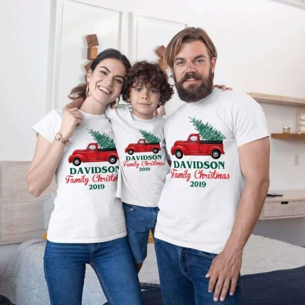 Christma Pjs Family Shirts, Tree on Truck, Matching Family Shirts