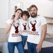 Christmas Plaid Deer Shirts, Mommy Daddy Baby, Matching Family Shirts
