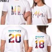 Together Since, Personalized Print, Matching Couples Anniversary Shirts