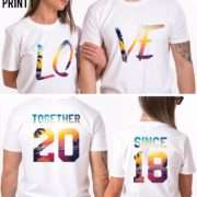 Together Since, LOVE, Matching Couple Anniversary Shirts