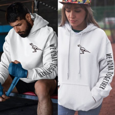 We Roar Together, Sleeve Print, Matching Couples Hoodies