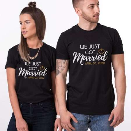 We Just Got Married Shirts, Custom Date Year, Matching Couples Shirts
