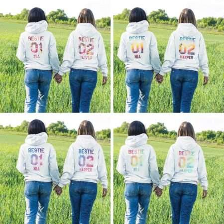 Personalized Bestie Hoodies, Bestie 01, Matching Best Friends Hoodies