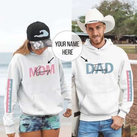 Personalized Gift for Parents, Custom Sleeve Print, Matching Hoodies