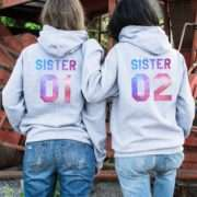 Sister Matching Hoodies, Sister 01 Sister 02, Patterns, Best Friends Gifts