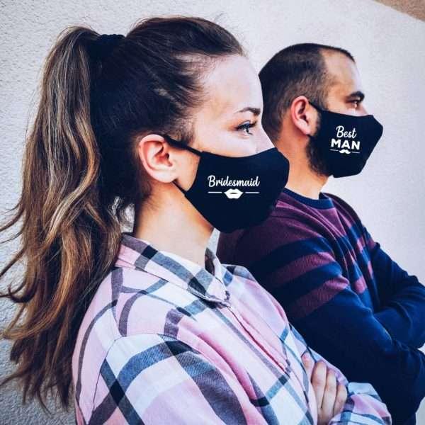 Wedding Face Mask with filter pocket, Bride Groom Face Masks