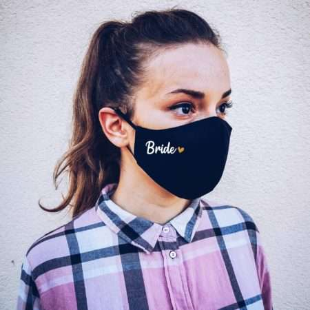 Bride Groom Wedding Face Mask with filter pocket, Wedding Guests Masks