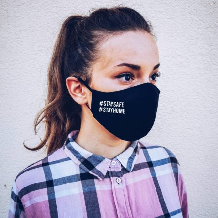 Stay Safe Stay Home Face Mask, Cotton Face Mask with filter pocket