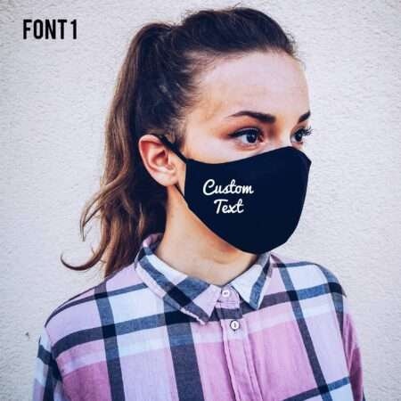 Custom Text Face Mask, Personalized Cotton Black Face Mask